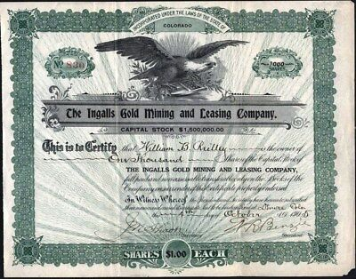 Ingalls Gold Mining And Leasing Co, 1905, Cripple Creek, Co, Uncancelled Stock C
