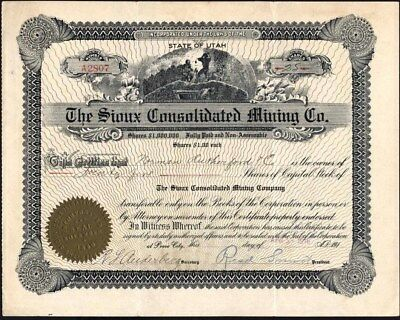 Sioux Consolidated Mining Co, Of Provo City, Utah, 1916, Uncancelled Stock Cft.