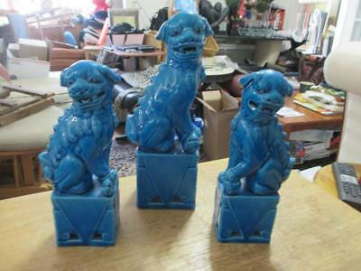 "Vintage Chinese Foo Dogs Set Of 3 Turquoise Statues Pair Of 8"" And One 10"" High"