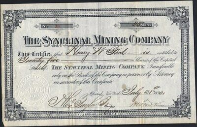 Synclinal Mining Co, 1890, Leadville, Co Stock Certificate