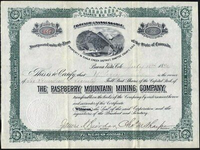 Rasberry Mountain Mining Co, Chalk Creek Dist. Chaffee County, Co, 1890, Rare