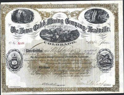 Iowa Gulch Mining Company Of Leadville, Co, 1881, Uncancelled Stock Certificate