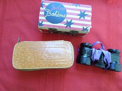 Vintage Isolan Boheme Binoculars - Toy (?) Leather Case & Box Made In W Germany