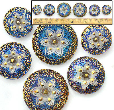 18-27mm Czech Glass BLUE Lotus Lace AB Flower Mother/Daughter Buttons 6pc 3SIZES