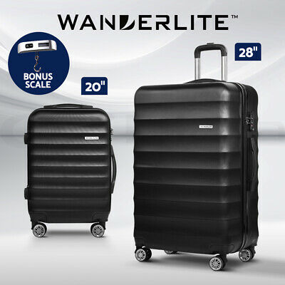 Wanderlite Luggage Sets Suitcase TSA Travel Hard Case Lightweight PC Black