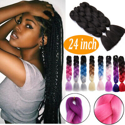"100g/pack 24"" Kanekalon Jumbo Braids Hair Ombre Colored Synthetic Hair Extension"