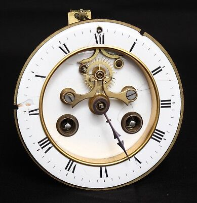 *Rare* Antique French Unsigned Open Escapement Exposed Movement & Dial Clock