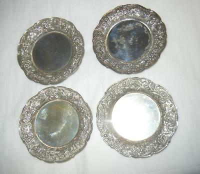 """(4) Antique 3 1/4"""" S Kirk & Son Repousse Sterling Silver Butter Pats #17F"""
