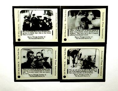 4 Magic Lantern Slides WWI British Navy Life Lot Pig Mascot 1915 Haslar Hospital