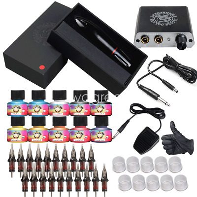 Beginner Complete Tattoo Kit Motor Pen Machine Gun Color Ink Power Supply Needle