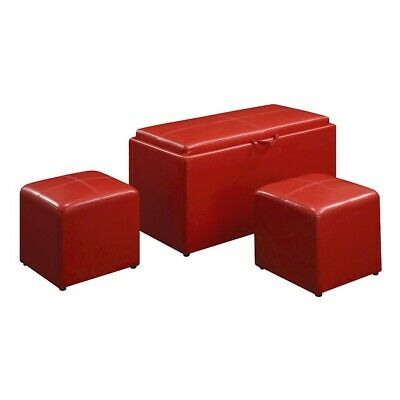 Convenience Concepts Designs4Comfort Storage Bench, 2 Ottomans, Red - 143012R