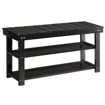 Convenience Concepts Oxford Utility Mudroom Bench, Black - 203300BL