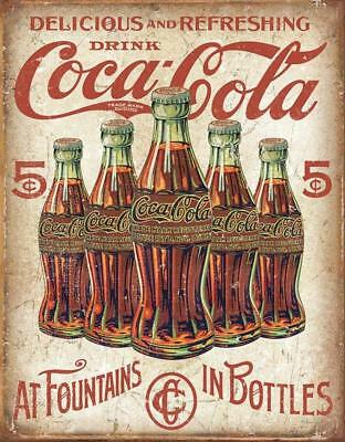 Coca-Cola COKE - 5 Bottles Vintage Rustic Retro Tin Sign 13 x 16in