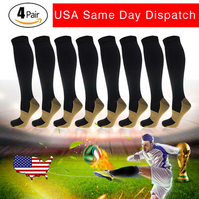 4 Pairs Copper Compression Socks 20-30mmHg Graduated Support Mens Womens S-XXL