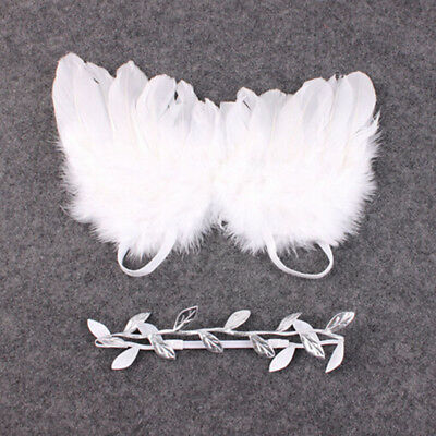 Baby Newborn White Angel Wings Headband Costume Photo Photography Props Outfits