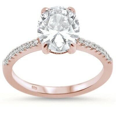 Rose Gold Plated Oval Cubic Zirconia Engagement .925 Sterling Silver Ring
