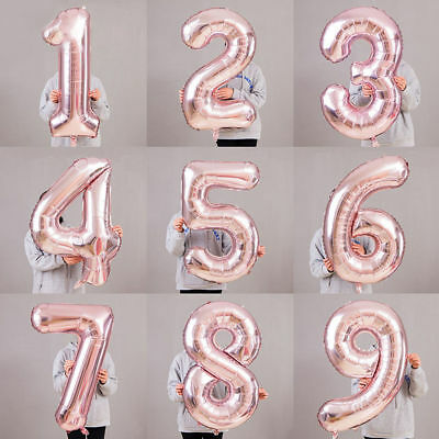 """32"""" Rose Gold 0-9 Number Foil Balloons for Birthday Baby Shower Party Decoration"""