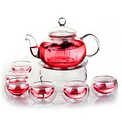 Heat Resistant Glass Teapot 800mL Infuser Teapot+Warmer+6 Double Wall Tea Cups