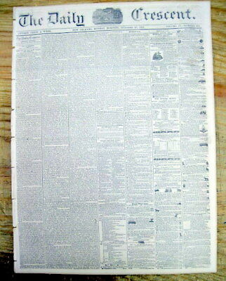 1851 New Orleans Crescent LOUISIANA newspaper w 2 frnt pge illustrated SLAVE ADS