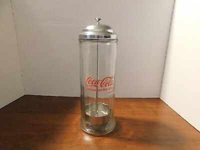 Vintage 1992 Coca Cola Retro Diner Glass Straw Dispenser With Chrome Lid