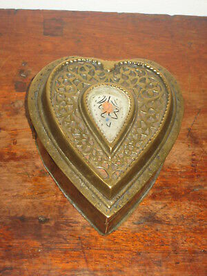 Charming Antique Brass Box Fitted With Mirror & Inkwell S  Heart Shaped