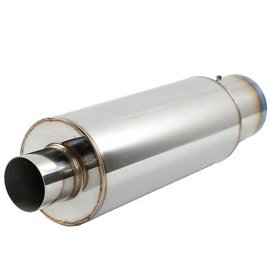 "Fit xB N1 Weld On Flat 4/"" Carbon Tip 2.5 Inlet BLK Muffler Exhaust Silencer"