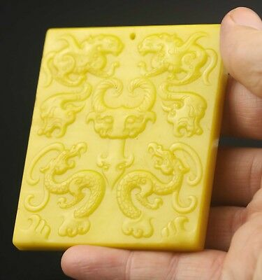 Chinese old natural yellow jade hand-carved dragon pendant 3.1 inch