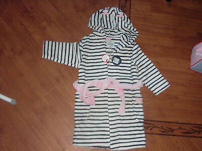 Bnwt Girls Joules Jnr Teddy Navy Stripe Hooded Dressing Gown Age 3-4 Yrs.£29.95