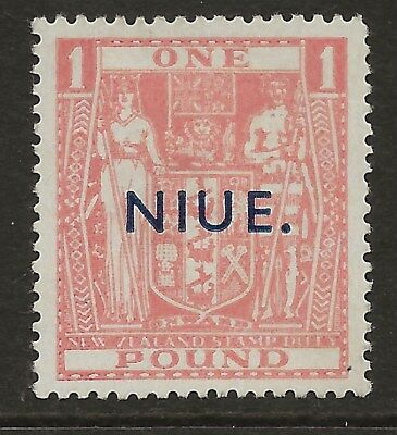 Niue  Sg 86  1942 £1 Pink Postal Fiscal Mounted Mint  Fine Appearance
