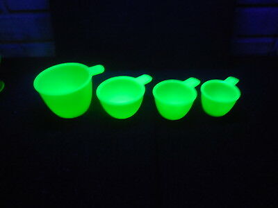 """Vintage Jadite Fire King Green Set of 4 Measuring Cups """"They Glow"""""""