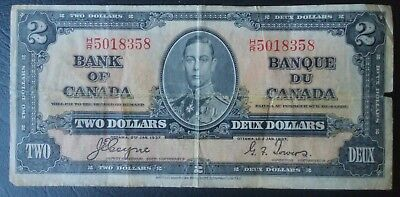 Bank of Canada 1937 $2 dollars Two Dollar Note, Coyne / Towers