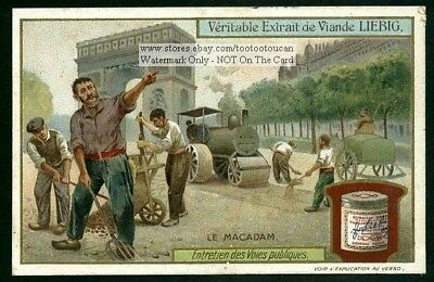 Paving A Street Road  With Tarmacadam NICE c1909 Trade Ad Card