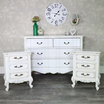 Pair antique cream bedside chests vintage French chic bedroom furniture set of 2