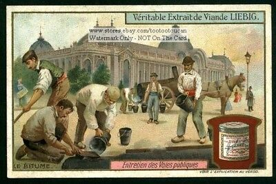 Paving A Road Street  With Bitumen Oil Tar c1909 Trade Ad Card