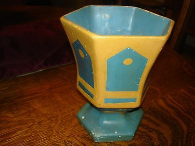 Old Muncie Marked Art Deco Look Cold Paint Vase - IN 2007 BAUER BOOK Priced $500