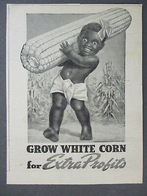 1944 Farmers 'grow White Corn For Extra Profits' Ad Black Boy Carrying Corn