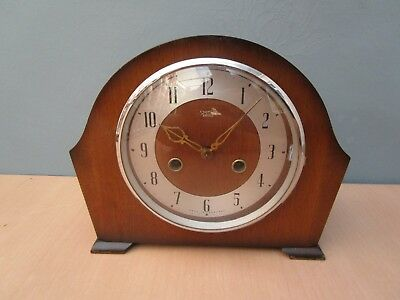 Vintage Wooden Smiths Enfield Chiming  Mantle Clock With Key