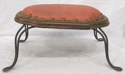 Vintage Footstool From 1950s Lebanon, PA Shoe Store Padded Top Cast Iron Legs
