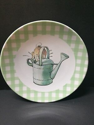 Pottery Barn Kids EASTER Beatrix Potter Peter Rabbit PLATE Gingham Table NEW Grn