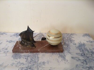 French Art Deco Style Marble Base Desk Table Lamp Light - Boat, Nautical (2448)