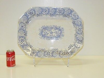 MASSIVE  Antique B & W  Staffordshire Transferware Alcock Cobridge Coral Platter