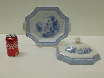 ANTIQUE 1840s Large Blue & W Staffordshire Transferware Covered Veggie Tureen