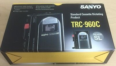 New Sanyo TRC-960C Standard Silver Cassette Voice Recorder Dictaphone Dictation