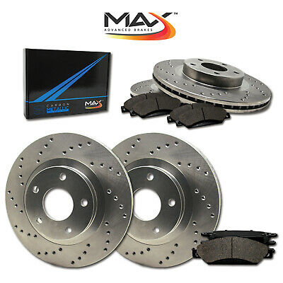 2007 2008 Chevy Suburban 1500 2WD/4WD Cross Drilled Rotors w/Metallic Pads F+R