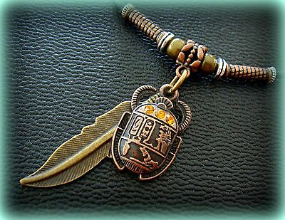 EGYPTIAN SCARAB Necklace Pendant Jewelry ART DECO Vintage look Beetle w/ Feather