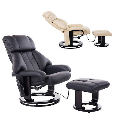 Massage Recliner Heat Recling Chair Swivel Wood Base w/ Footrest 10 Motor