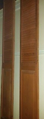 Vintage Pair Tall Shutters Louver & Raised Panel Style Redwood Doors