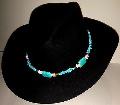 Western HAT BAND Native American Indian TURQUOISE Cowboy LEATHER HATBAND  UNISEX 54f7b20c9cd