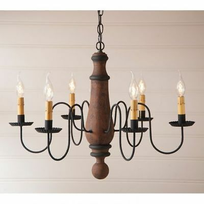 Country Primitive Farmhouse LARGE NORFOLK WOODEN CHANDELIER in PUMPKIN USA Made
