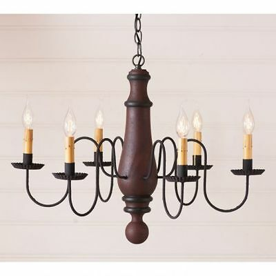 Country Primitive Farmhouse LARGE NORFOLK WOODEN CHANDELIER in RED/BLACK
